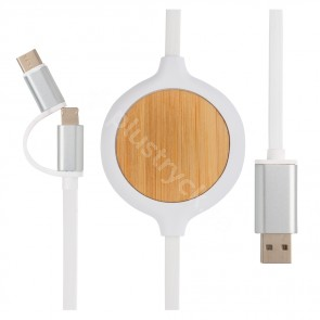 3-i-1 kabel med 5W bambu trådlös laddare