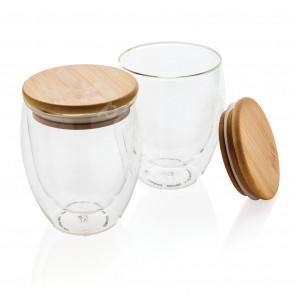 Dubbelväggigt borosilikatglas med bambulock, 350ml