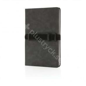 A5 hardcover PU anteckningsbok med mobil och-pennhållare